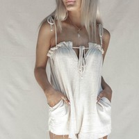 My Cue Natural Front Tie Playsuit