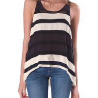 Caring Stripe Sleeves Sweater Top - Black/Cream