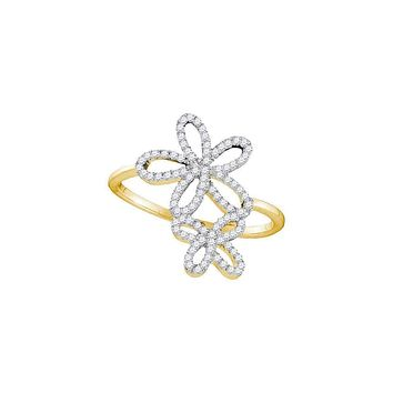 10kt Yellow Gold Women's Round Diamond Flower Star Cluster Ring 1/5 Cttw - FREE Shipping (US/CAN)