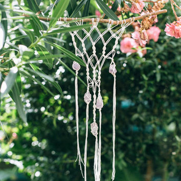 Macrame Wall Hanging With Amethyst Crystals - Unique Bohemian Wall Art - White Color
