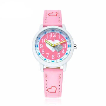 Miler New Children Fashion Casual Watch Girl Cute Love Color Pattern Sweet Style Quartz Wristwatch Popular Student Elegant Clock