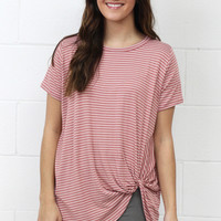 Get Twisted Striped Version Comfy Short Sleeve Basic {Mauve}