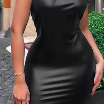 Pop Diva Black Sleeveless Halter Twist Knot Cut Out Keyhole Latex Bodycon Mini Dress
