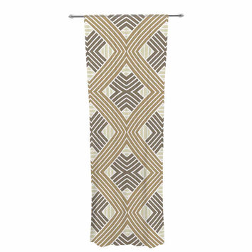 "Julia Grifol ""Brown Geometries"" Beige Geometric Decorative Sheer Curtain"