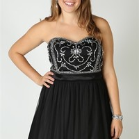Plus Size Strapless Dress with Stone Bodice and A-Line Skirt