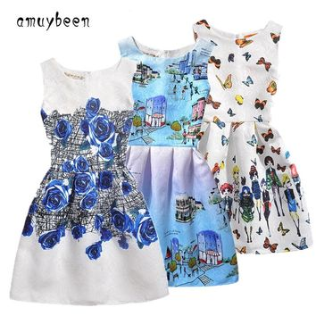 Amuybeen 2019 New Year Kids Summer Christmas Princess Casual Print Pattern Party Girls Dress Children Clothes Baby Girl Dresses