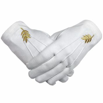 Masonic Acacia Leaf Machine Embroidery White Cotton Gloves