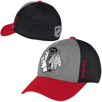 Chicago Blackhawks Reebok Travel & Training Tri-Blend Flex Hat - Black