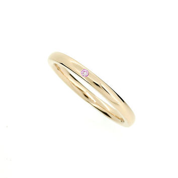 Yellow gold wedding band with Pink sapphire, thin wedding ring, promise ring, simple engagement, gold wedding, pink wedding, sapphire band