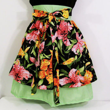 Tiger Lily Double Skirt Woman's Apron --#30