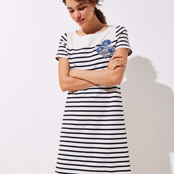 Floral Embroidered Stripe Tee Dress | LOFT