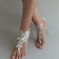 Ivory silver lace sandals Beach wedding, barefoot sandals wedding shoes beach shoes bridal accessories beach anklets bride bridesmaid gift