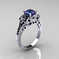 Classic 10K White Gold 1.0 CT Russian Alexandrite Black Diamond Solitaire Wedding Ring R203-10KWGBDAL