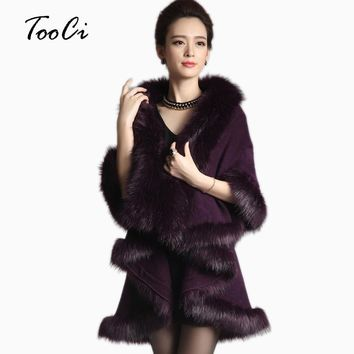 Women Cape Shawl Long Cardigan Sweater Luxury Faux Fur Collar Knitted Sweater Autumn/winter Capes And Poncho