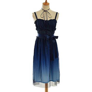 Sweet Navy Blue Gradient Color Lolita Fairy JSK Girls Suspender Dress