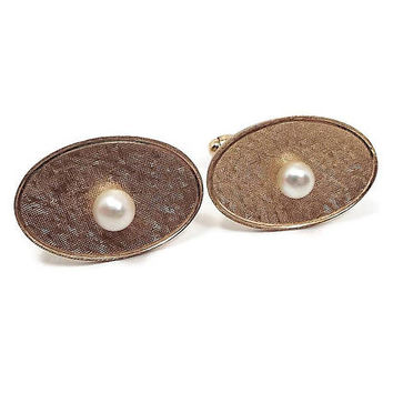 Vintage Pearl Cufflinks Brushed Textured 12K Gold Filled Hickok Signed Mid Century Wedding Jewelry Best Man Groom Gift