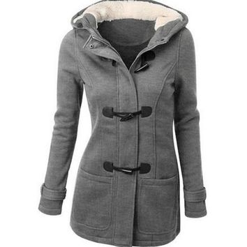 Womens Double Breasted Winter Coats and Jackets Trend Toggle Hoodie Outwear