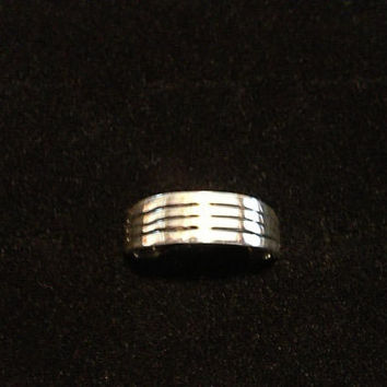Medium Thick Line Design in Solid Sterling Silver 925 ( Hand Carved )