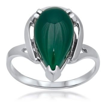 875 Silver Ring with Green Chalcedony
