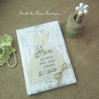 Advice For The Bride Rustic Wedding Book & Pen Set , Bridal Shower Gift , Wedding Book