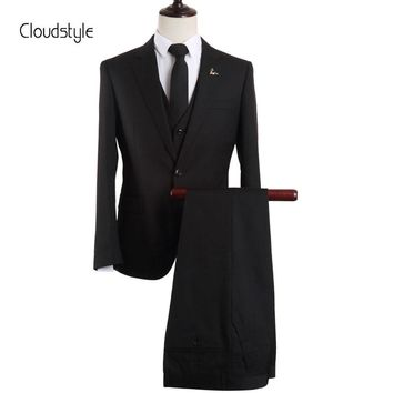 Cloudstyle Fashion Mens Suits Jacket pants vest Wedding Groom Formal Suit Classic Business Party Clothing Slim Fit Male Suit
