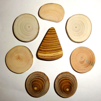 Natural line of essential jewelry findings. Various wood mix slices, jewelry making supplies. Jewelry supply for brooches, pendants, rings