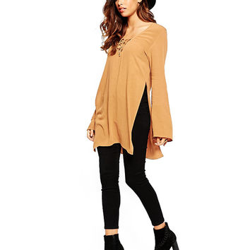 Yellow Long Sleeve Top with Side Slits