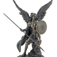 Archangel Raphael in lightly hand-painted, cold-cast bronze, 13.5inches