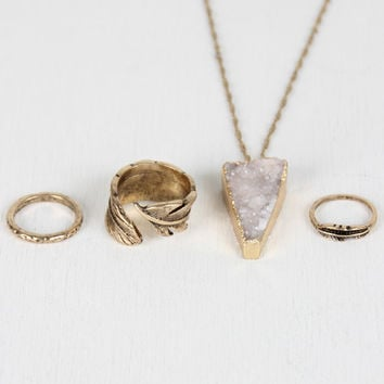 Raw Quartz Necklace and Feather Ring Set