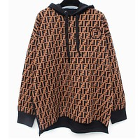 FENDI High Quality Popular Women Retro Long Sleeve Knit Hooded Sweater Pullover Top Sweatshirt
