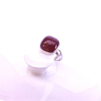 Carnelian Cabochon Ring - Bezel Set Square Stone on a Sterling Silver Band