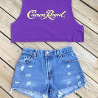 Crown Royal Crop Top Size Large by DenimAndStuds on Etsy