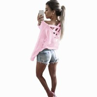 Women's Backless Long-Sleeve Casual Blouse