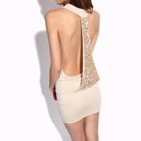 Amazon.com: Krazy Sexy Backless Sequined Dress Nude US Size 0-6: Clothing