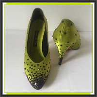 Anne Klein Heels Sequins Green Shoes Womens Size 6