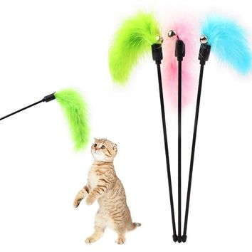 Turkey Feather Wand Stick For Cat Catcher Teaser Toy For Pet Kitten Jumping Train Aid Fun