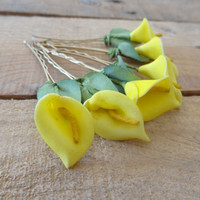 Yellow  Calla Lilies  Wedding Hair Pins,Calla Lilies Hair Pins,  Calla Lilies Hair Clips, Bridal Hair Pins, Wedding Hair Flowers, Set 6