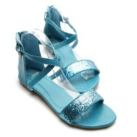 Ollio Women's Shoe Zipper Ankle Strap Buckle Accent Multi Color Sandal(6 B(M) US, Turquoise)