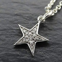 dainty star pendant white gold star pendant diamond pendant, starburst pendant for her, small star necklace diamond anniversary gift for her