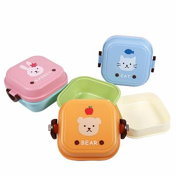 Portable Cute Cartoon Bento Box For Kids Double Layer Food Container Lunch Boxs Picnic Plastic Food Storage Box High Quality