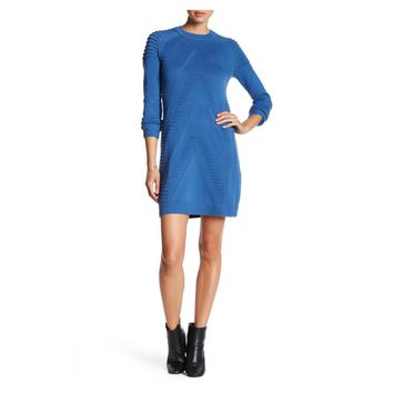 Knit Construction Ridged Pattern Sweater Dress
