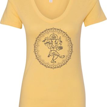Womens Yoga T-shirt Circle Ganesha Black Print Blended V-neck