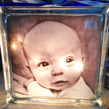 Newborn, Baby Photo Lighted Glass Block and Home Glass Decor and Gifts