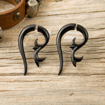 Fake Plugs Black Horn Earrings Fake Gauges Spiral Organic Tribal Earrings - FG054 H ALL