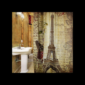 Vintage Paris Eiffel Tower w/Brown Butterfly Shower Curtain