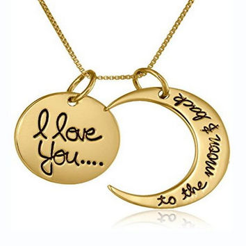 I Love You To The Moon and Back Gold Pendant Necklace