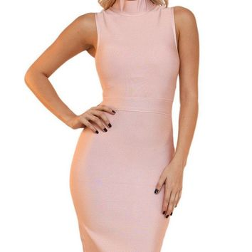 Kimmy Pink Turtleneck Midi Dress bandage dress