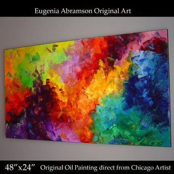 Original Modern Oil Painting on Canvas 48x24 palette knife technique Abstract Contemporary Fine Art Wall Decor by artist Eugenia Abramson