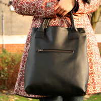 Black leather tote bag - Handbag - Everyday shopper bag - Carry all handbag - Lined with zipper and front pocket