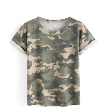 Army Green Women Camouflage T-Shirt